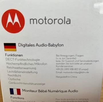 Motorola MBP 8 Babyphone Verpackung seitlich